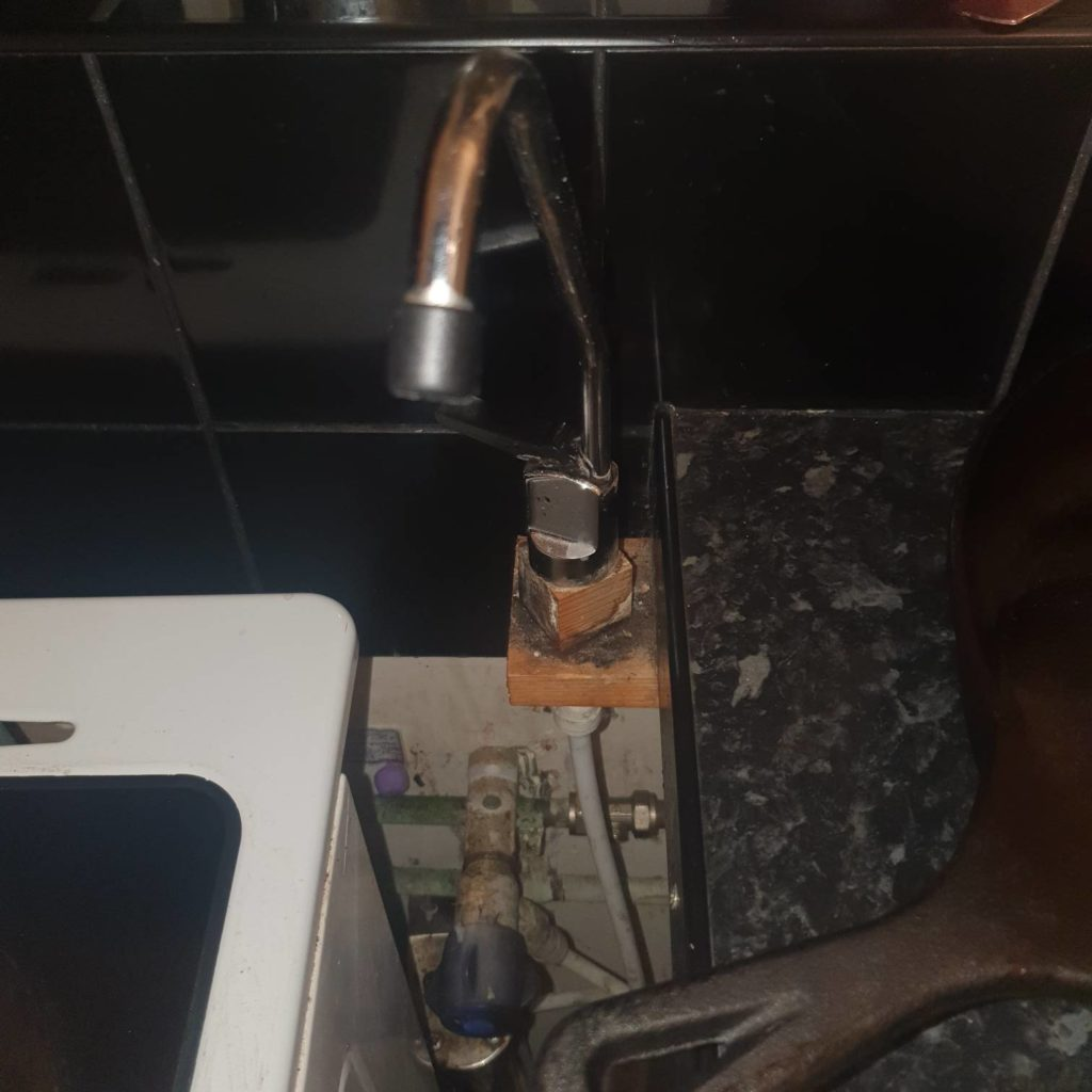Tap repaired by plumber.